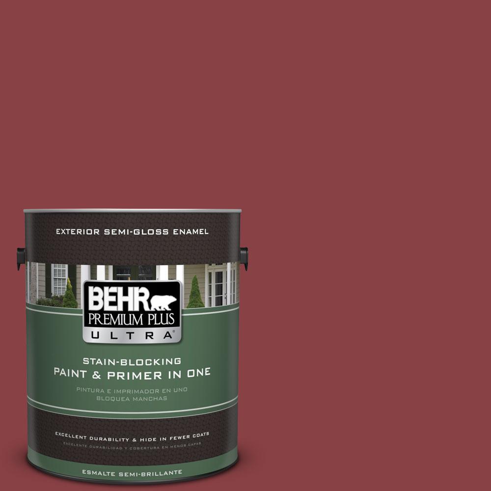 BEHR Premium Plus Ultra 1-gal. #BIC-34 Winning Red Semi-Gloss Enamel Exterior Paint