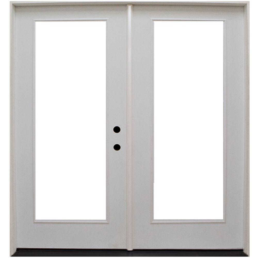Steves sons 64 in x 80 in primed white fiberglass for White french doors exterior