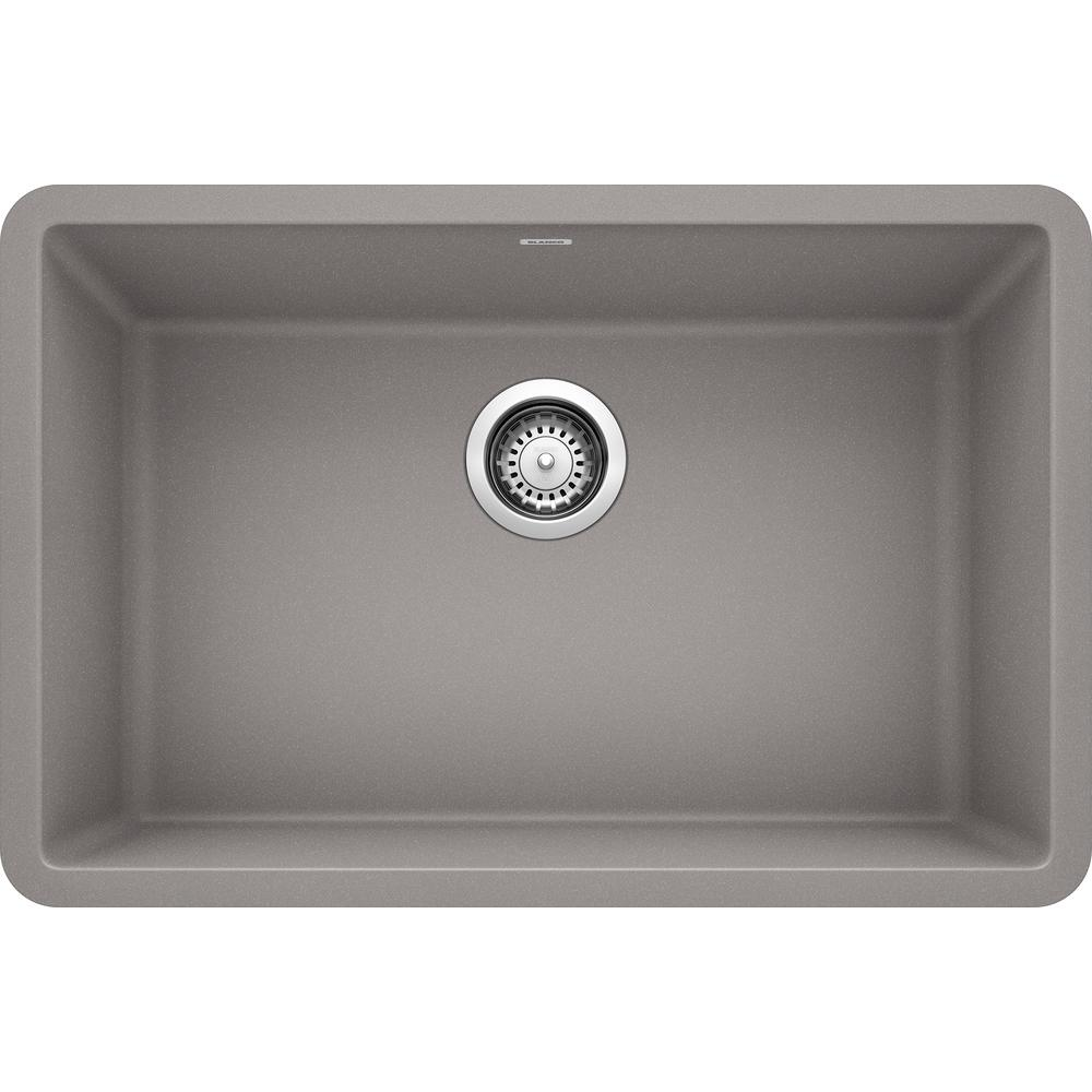 Blanco PRECIS Undermount Granite Composite 27 in. Single Bowl Kitchen Sink  in Metallic Gray