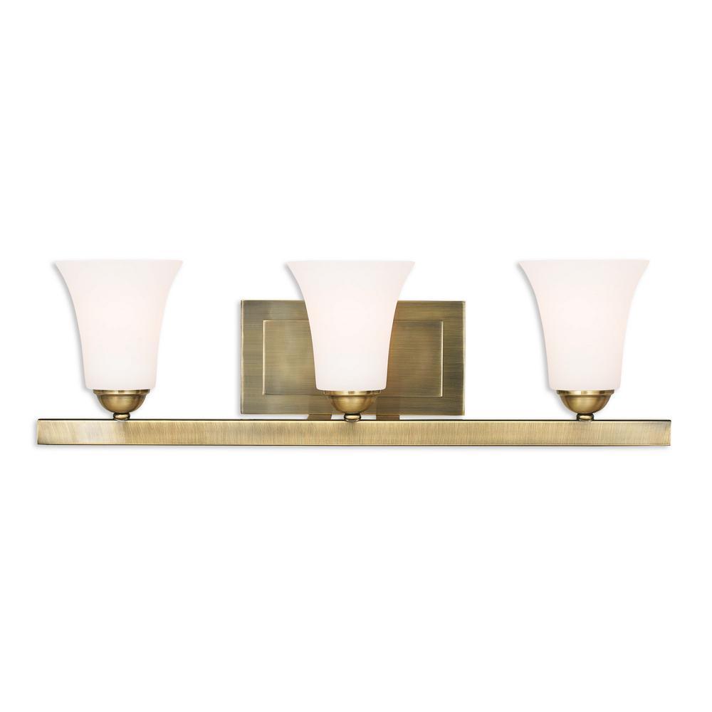 Ridgedale 3-Light Antique Brass Bath Light