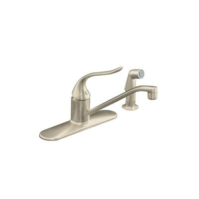 Coralais Single-Handle Standard Kitchen Faucet with Side Sprayer and Lever Handle in Vibrant Brushed Nickel