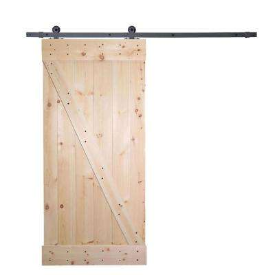 36 in. x 84 in. Unfinished Knotty Pine Wooden Door with Top Mount Black Barn Door Track Hardware