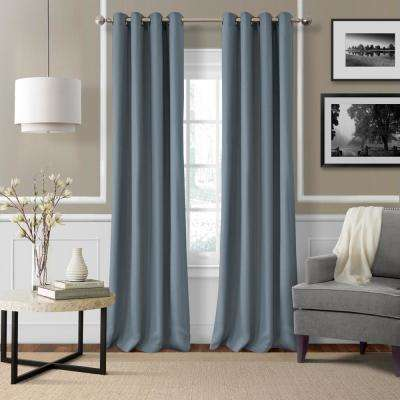 Elrene Essex 50 in. W x 84 in. L Polyester Single Window Curtain Panel in Blue