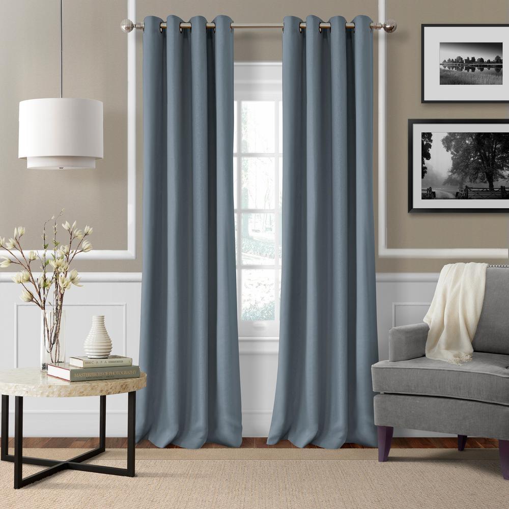 Elrene Essex 50 in. W x 95 in. L Polyester Single Window Curtain Panel in Blue