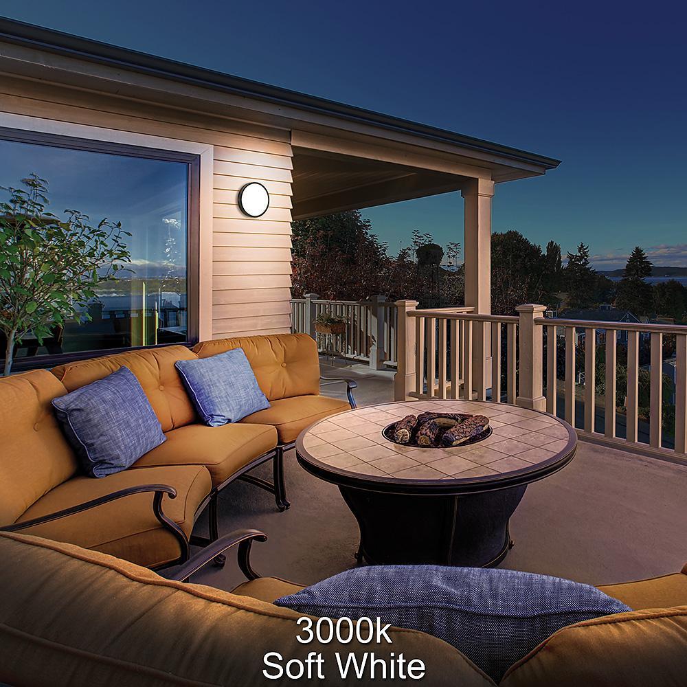 Shorebreaker 10 in. Black Round LED Outdoor Bulkhead Light Nautical Coastal Wall or Ceiling 800 Lumens 3000K Soft White