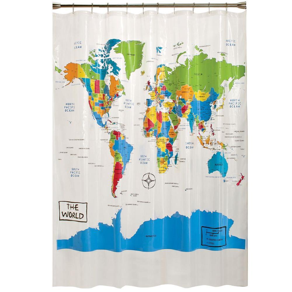 Saturday Knight The World 70 in. W x 72 in. L PEVA Shower Curtain