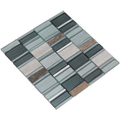 Tallia/02, Gray and Silver, 3 in. x 6 in. x 8 mm Glass/Stone/Metal Mesh-Mounted Mosaic Tile Sample