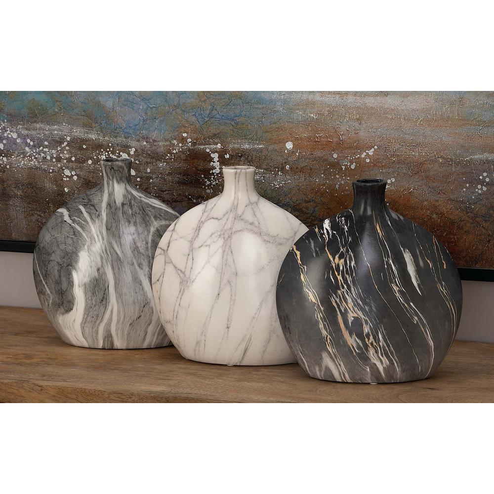 13 in. Gray Ceramic Rounded Decorative Vase (Set of 3)