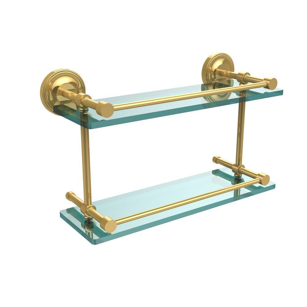 Prestige Regal 16 in. L x 8 in. H x 5 in. W 2-Tier Clear Glass Bathroom Shelf with Gallery Rail in Polished Brass