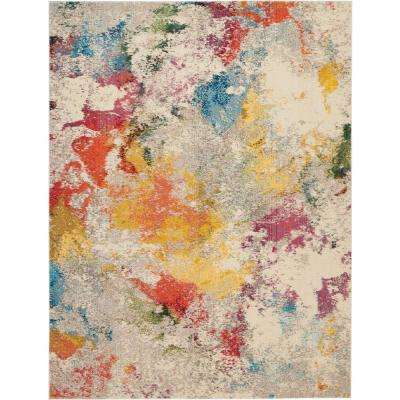 Janelle Ivory/Multi-Color 8 ft. x 11 ft. Abstract Area Rug
