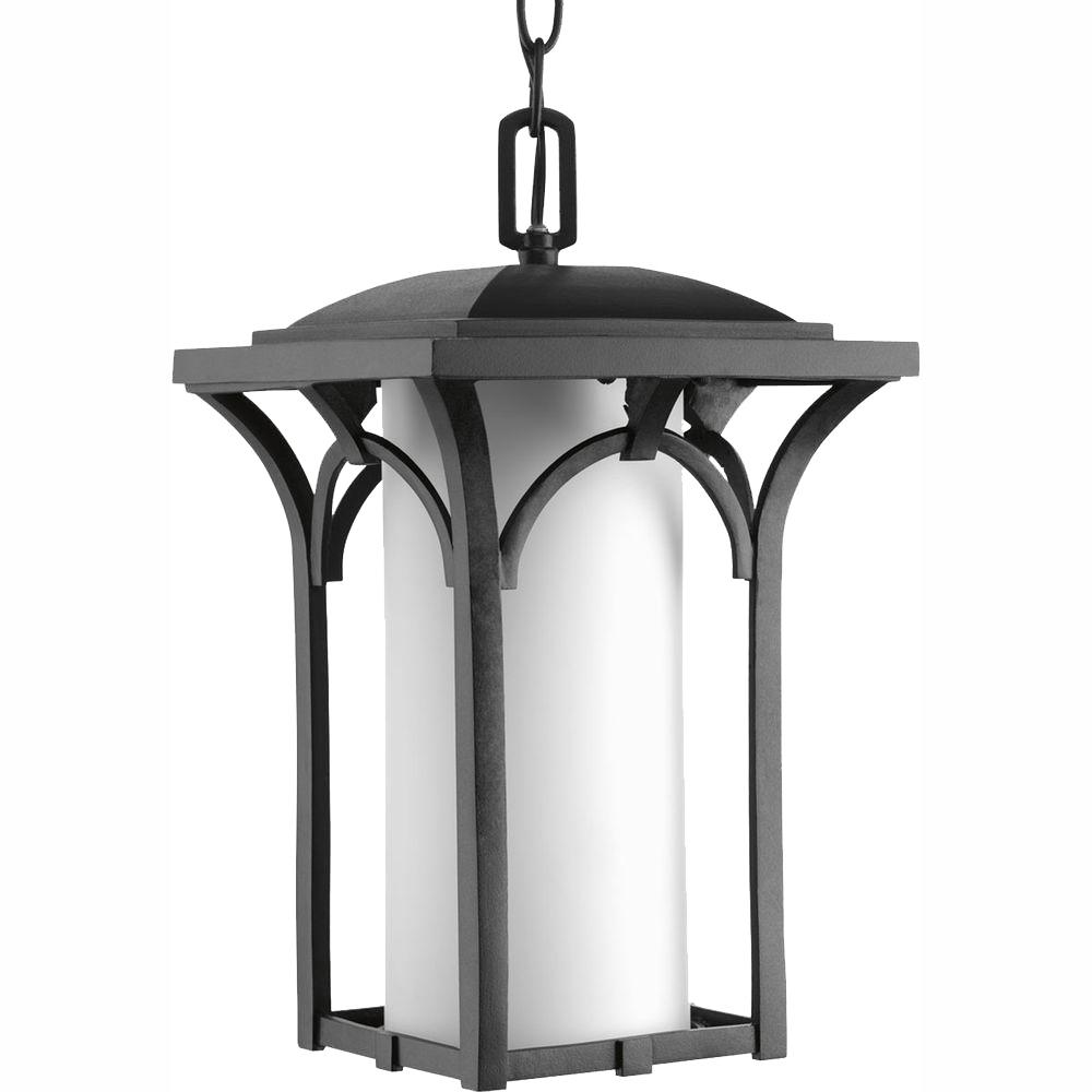 Promenade Collection 1-Light Black Outdoor Hanging Lantern