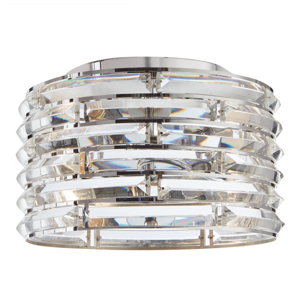 Avant 2-Light Curved Crystal and Chrome Flush Mount