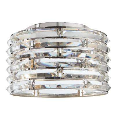 Avant 2-Light Curved Crystal and Chrome Flush Mount
