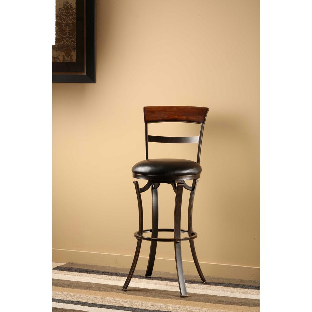 Hillsdale Furniture Kennedy 30 In Black Gold Swivel Cushioned Bar