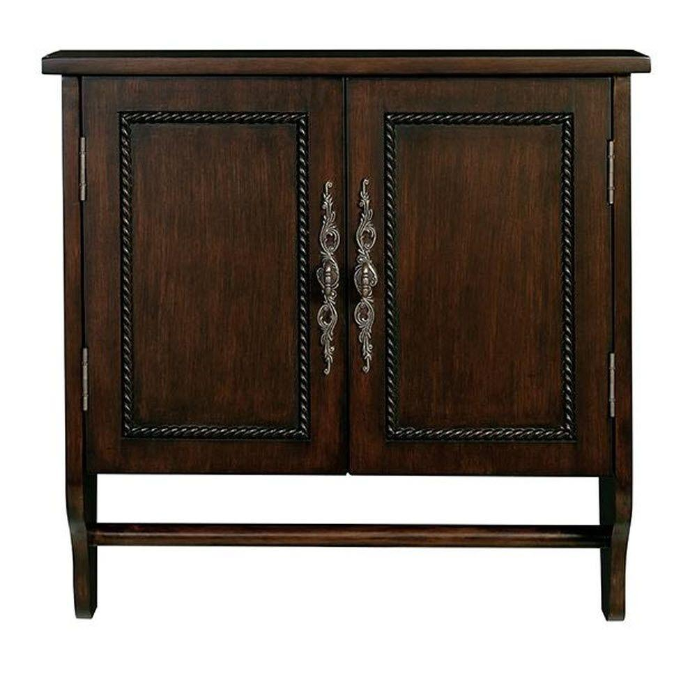 D Bathroom Storage Wall Cabinet with Towel Bar in Antique Cherry - Home Decorators Collection Chelsea 24 In. W X 24 In. H X 8 In. D