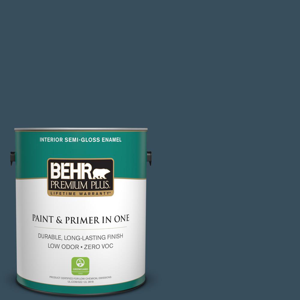 1 gal. #PPU13-20 Restless Sea Zero VOC Semi-Gloss Enamel Interior Paint