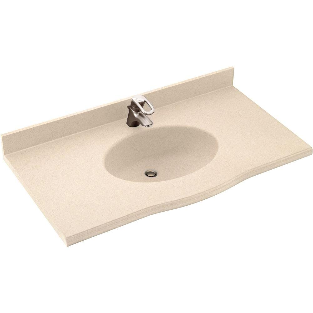 Swan Europa 61 in. W x 22-1/2 in. D x 11-38 in. H Solid-Surface Vanity Top in Bermuda Sand with Bermuda Sand Basin