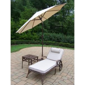 4-Piece Aluminum Outdoor Chaise Lounge Set with Tan Cushions and Beige Umbrella by