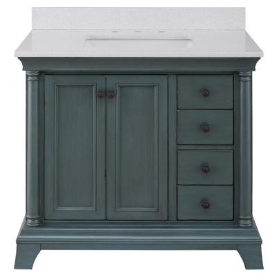 Strousse 37 in. W x 22 in. D Vanity in Distressed Blue Fog with Engineered Stone Top in Ice Diamond with White Sink