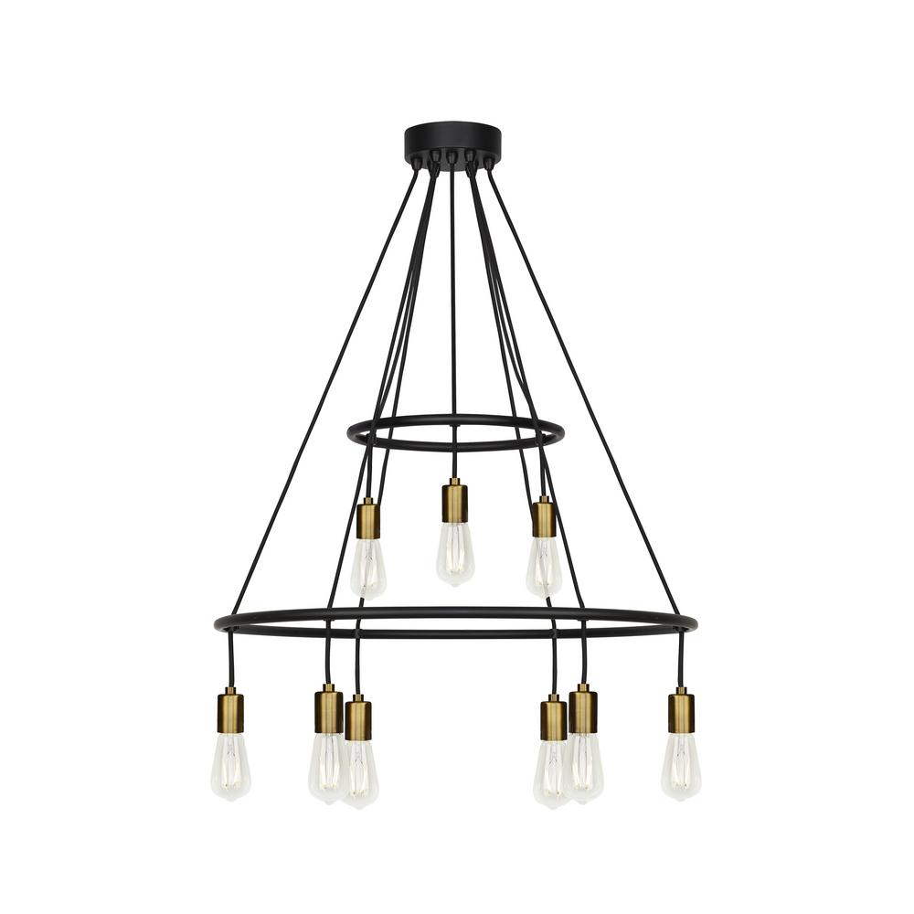 Lbl Lighting Tae 9-Light Black/Aged Brass Chandelier