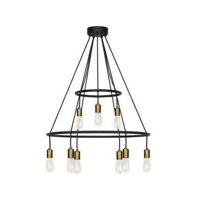 Tae 9-Light Black/Aged Brass Chandelier with LED Bulbs