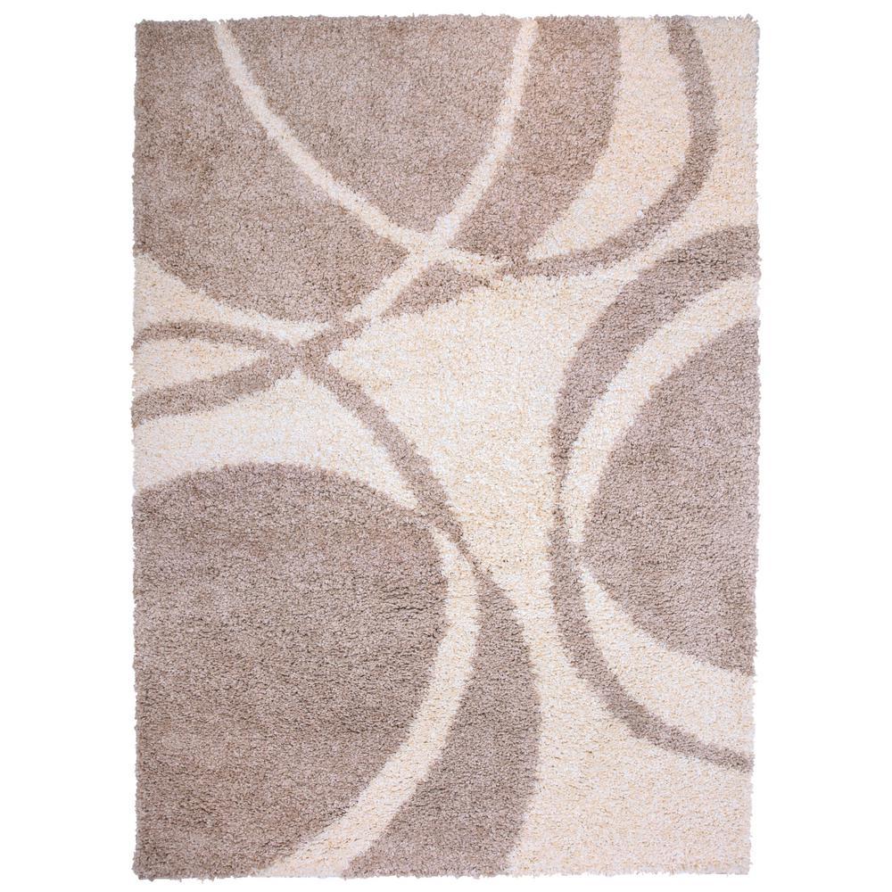 Modern circles soft plush shag 7 10 x 10 area rug beige