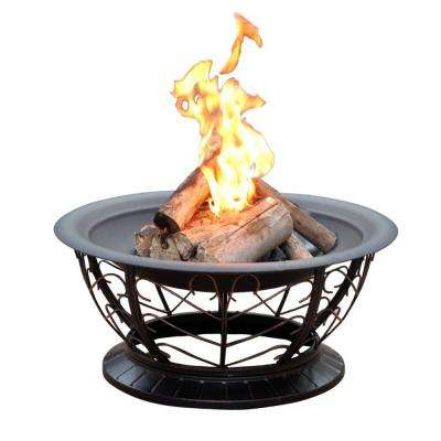 30 in. Scroll Steel Fire Pit