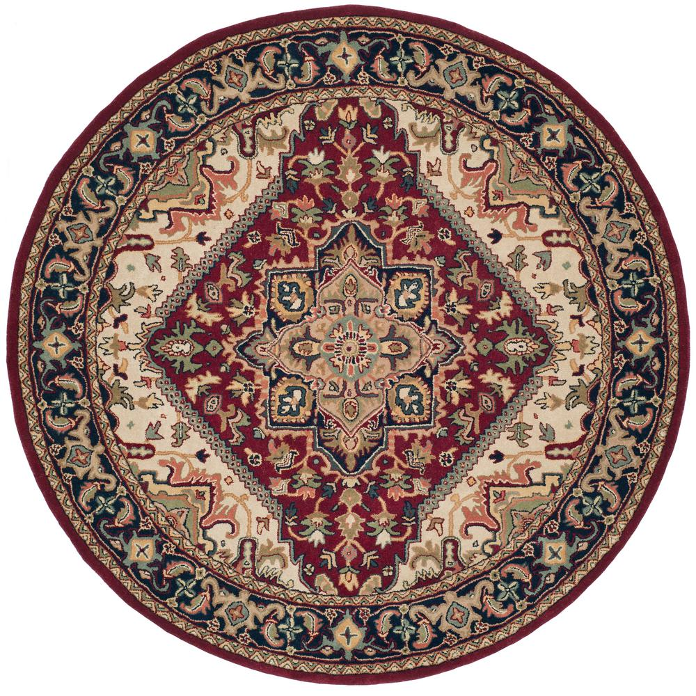 Safavieh Heritage Red 8 Ft X 8 Ft Round Area Rug Hg625a