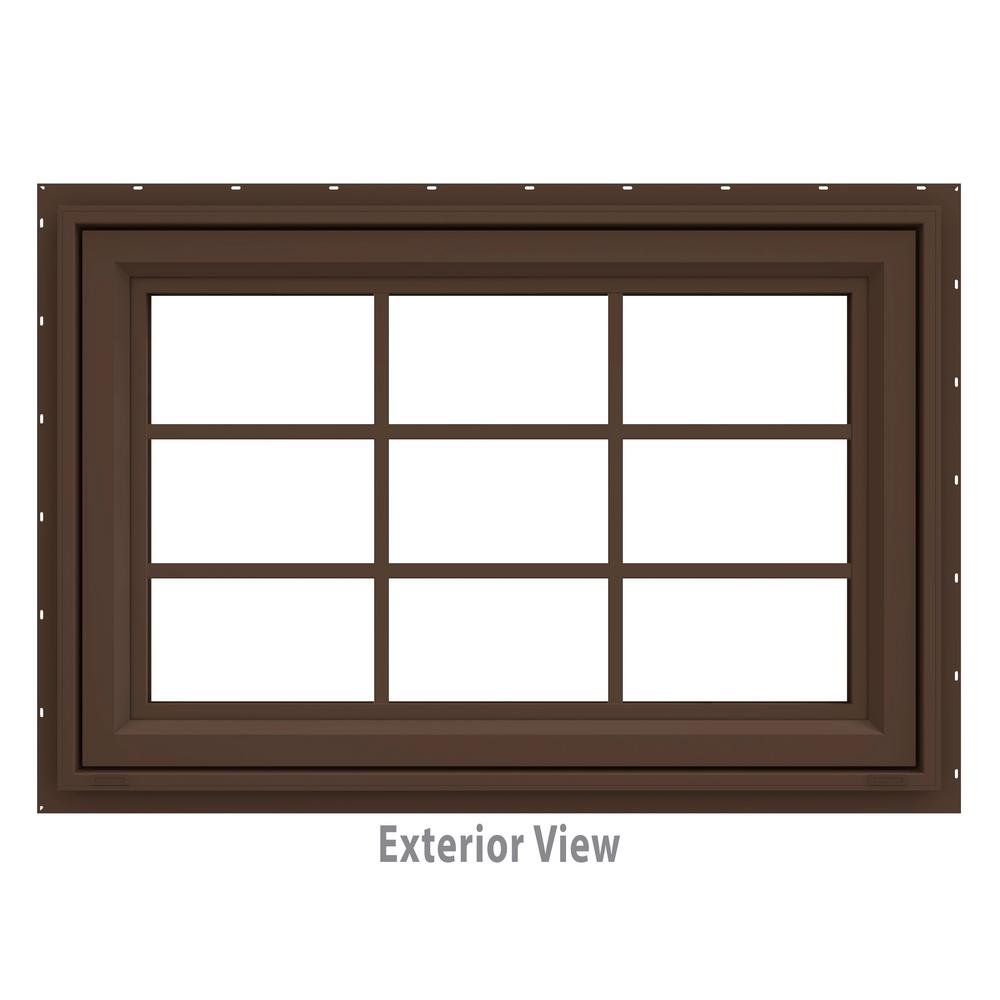 35.5 in. x 29.5 in. V-4500 Series Brown Painted Vinyl Awning