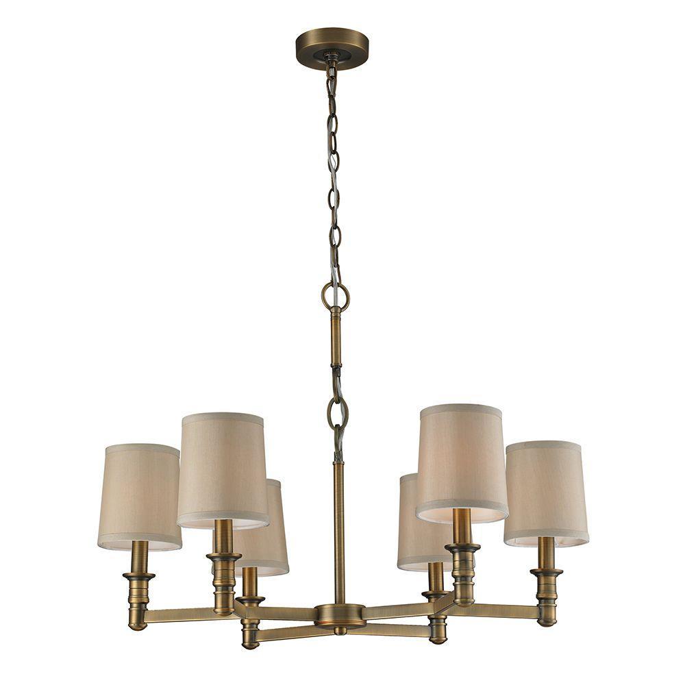Baxter 6-Light Brushed Antique Brass Ceiling Chandelier