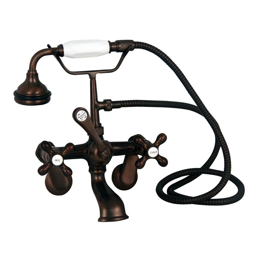 Barclay Products Metal Cross 3-Handle Claw Foot Tub Faucet with Handshower in Oil Rubbed Bronze