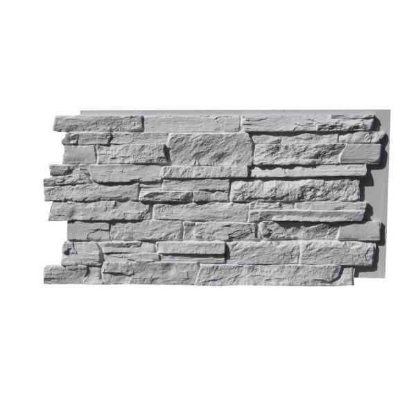 Canyons Edge Faux Stack Stone 48-3/4 in. x 24-3/4 in. Class A Fire Rated Urethane Siding Panel Coconut White
