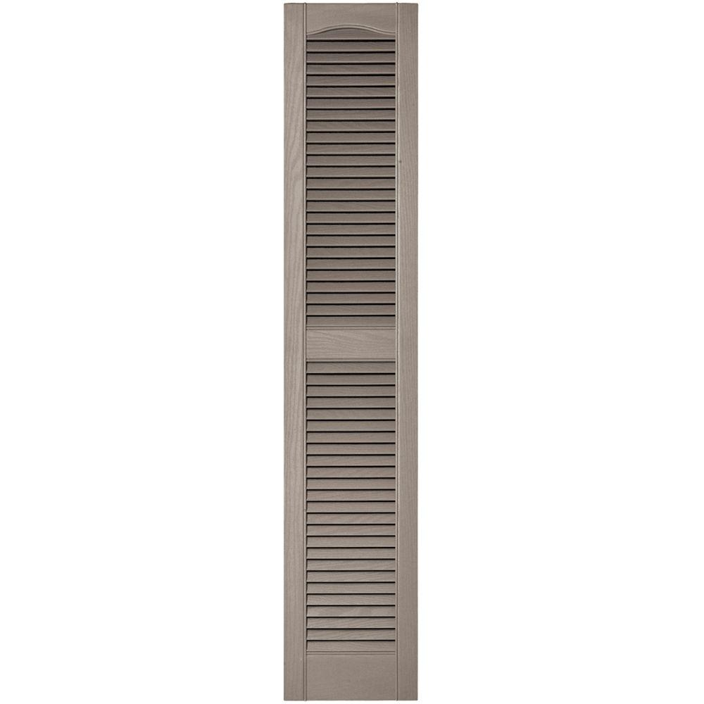 12 in. x 60 in. Louvered Vinyl Exterior Shutters Pair in