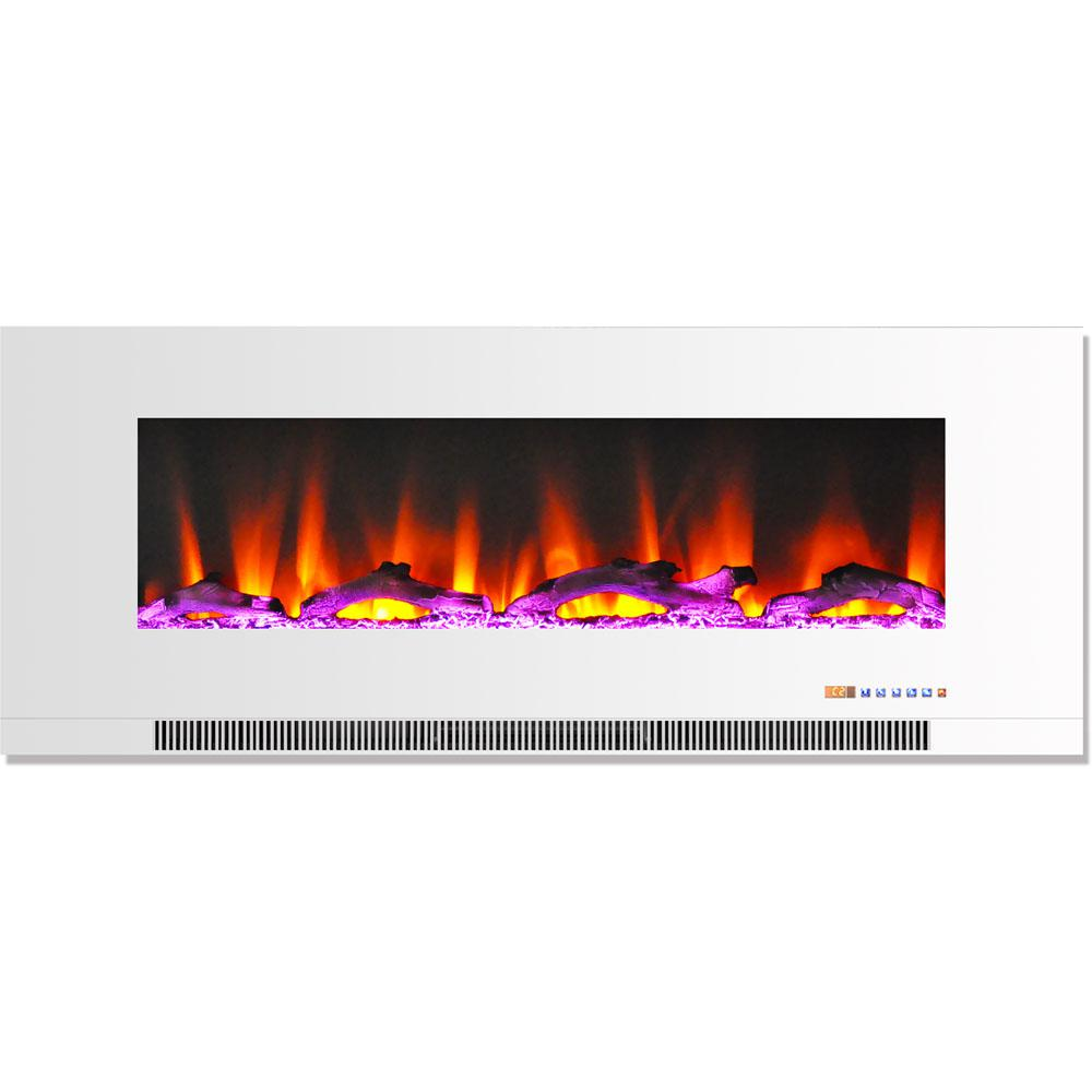 50 in. Wall-Mount Electric Fireplace in White with Multi-Color Flames and