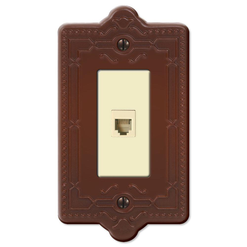 Creative Accents Steel 1 Phone Wall Plate - Rust