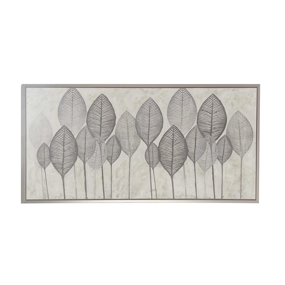 Black And White Veined Leaves Hand Painted Framed Canvas Wall Art 60071 The Home Depot