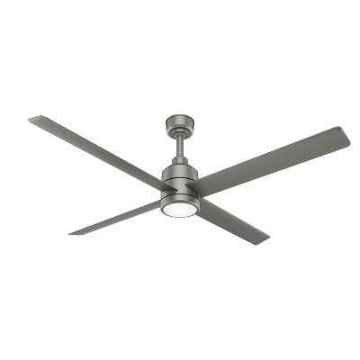 Trak 84 in. Integrated LED Indoor/Outdoor Matte Silver Commercial Ceiling Fan with Light and Wall Control