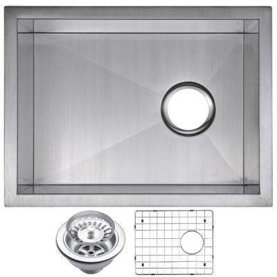 Undermount Stainless Steel 15 in. Single Bowl Bar Sink with Strainer and Grid in Satin