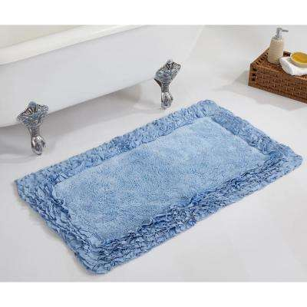 Ruffle Blue 24 in. x 40 in. Cotton Bath Rug