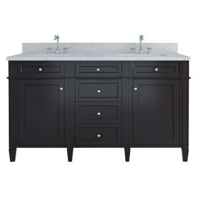 Samantha 60 in. W x 22 in. D Double Vanity in Espresso with Marble Vanity Top in White with White Basin
