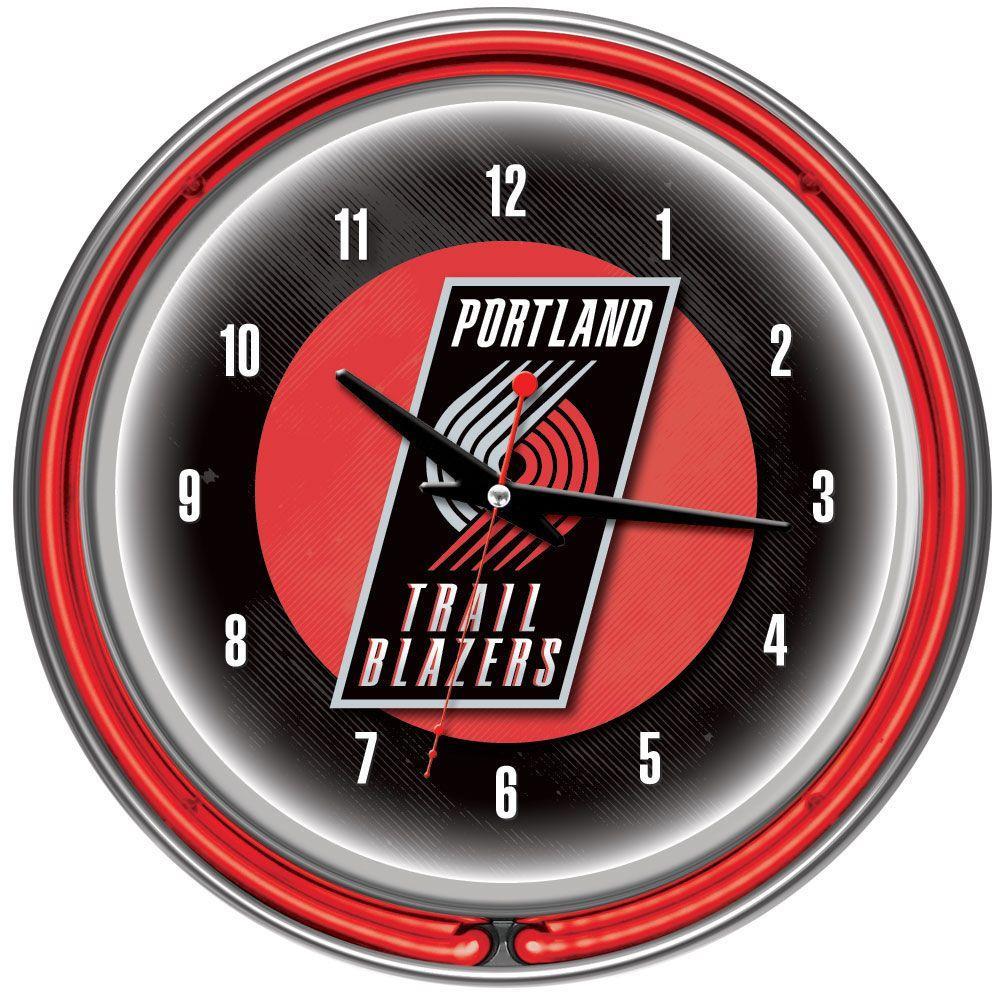 Trademark Global 14 in. Portland Trail Blazers NBA Chrome Double Ring Neon Wall Clock