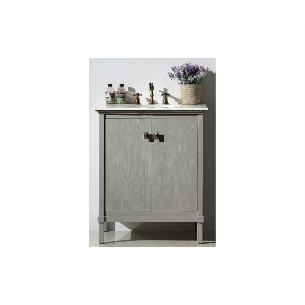 30 in. Vanity in Antique Gray with Marble Top with White