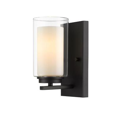 1-Light Matte Black Wall Sconce with Inner White and Outer Clear Glass Shade