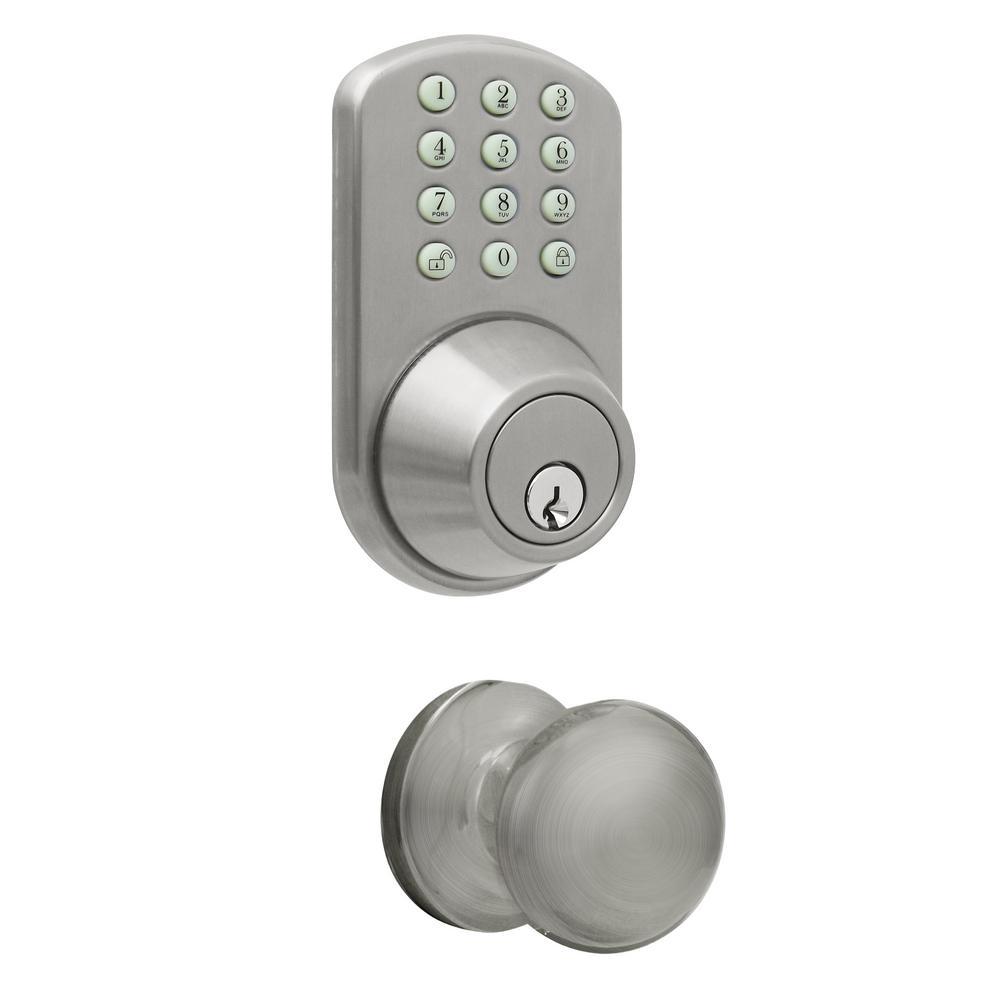 Satin Nickle Keyless Entry Deadbolt and Door Knob Lock with Electronic Digital Keypad