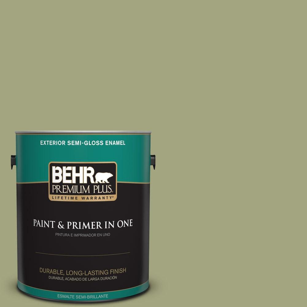 BEHR Premium Plus 1-gal. #410F-4 Mother Nature Semi-Gloss Enamel Exterior Paint
