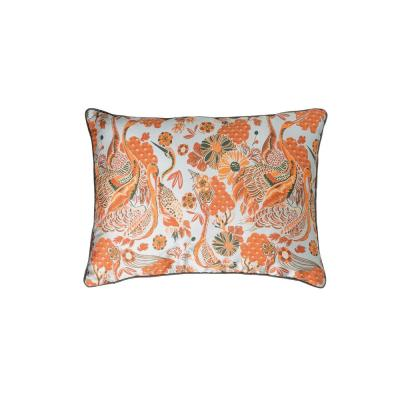 Orange and Blue Floral with Cranes Reversible 24 in. x 18 in. Throw Pillow