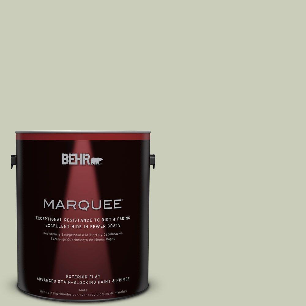 BEHR MARQUEE 1-gal. #S380-2 Morning Zen Flat Exterior Paint, Moss Mist