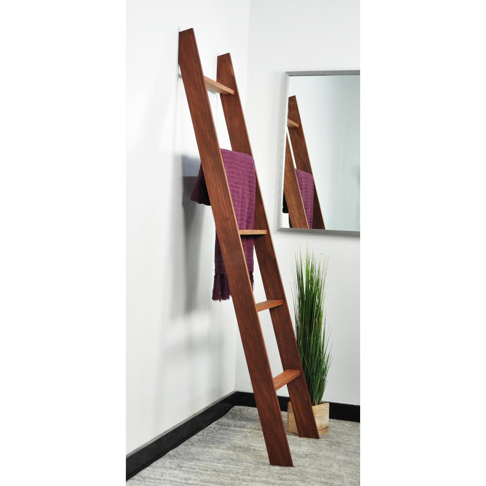 Lucus 72 in. Chestnut Wooden Decorative Blanket Ladder