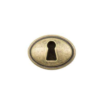 1-5/16 in. Antique Brass Faux Keyhole