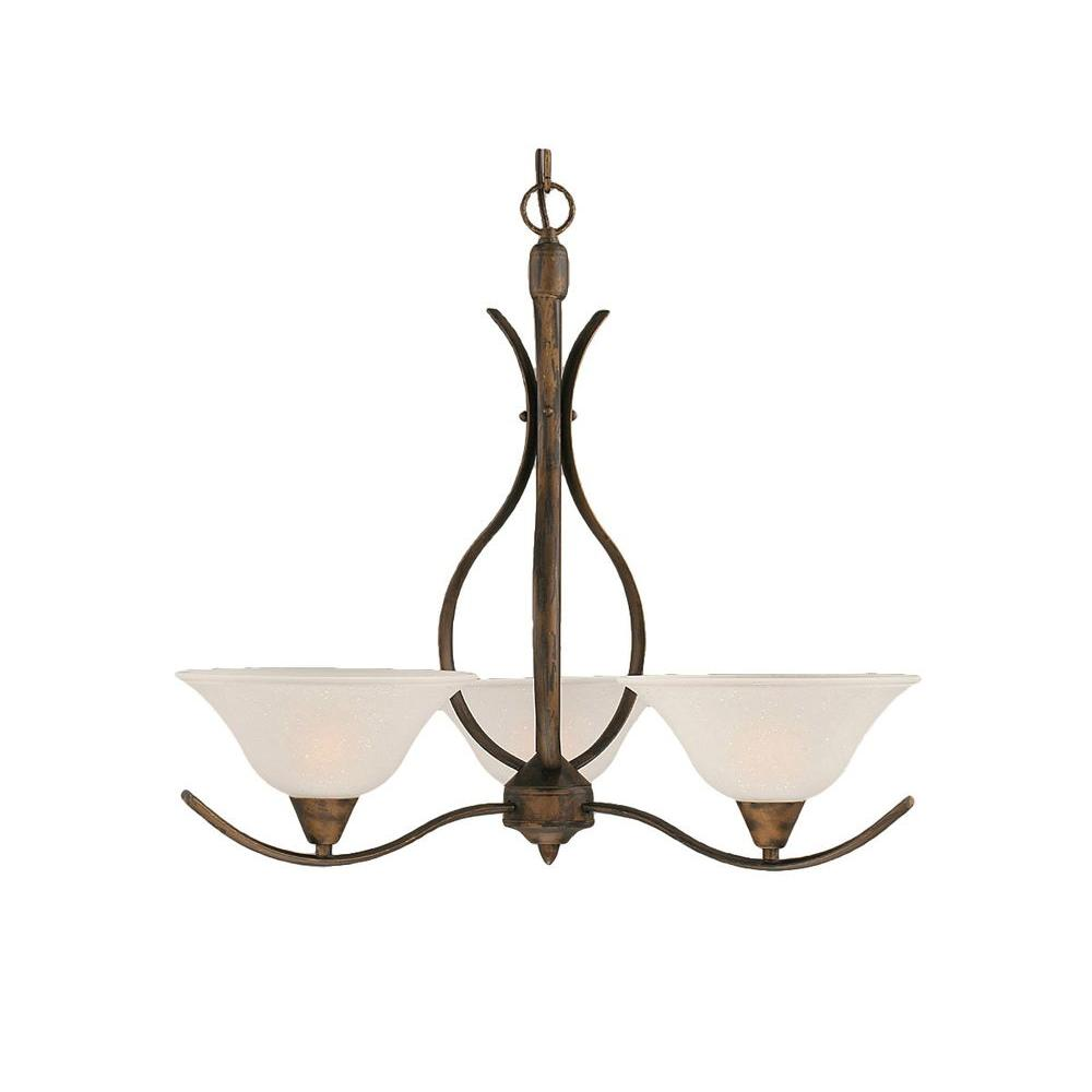 Concord 3-Light Bronze Chandelier with Dew Drop Glass